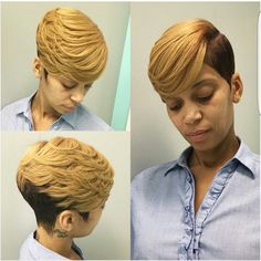 Image may contain: 1 person Short Quick Weave Hairstyles, 27 Piece Hairstyles, Short Sassy Haircuts, Short Haircut Styles, Cute Hairstyles For Short Hair, Short Hair Cuts, Curly Hair Styles, Natural Hair Styles, Black Hairstyles
