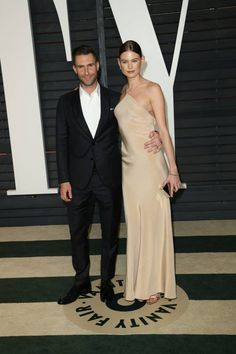 Vanity Fair's 2015 Oscars Party: All The Red Carpet Fashion! Adam Levine and Behati Prinsloo