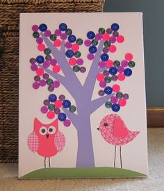 Children's Room Canvas Art, Nursery decor,  9X12, owl, bird, tree, cute as a button, pink and purple on Etsy, $28.00