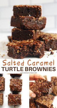 How to make healthy salted caramel turtle brownies with vegan salted caramel, pecans, and chocolate.  Healthy brownies recipe that are clean eating and super easy to make! Healthy Dessert Recipes, Easy Desserts, Snack Recipes, Paleo Recipes, Free Recipes, Easy Recipes, Healthy Snacks, Brownie Bites Recipe, Brownie Recipes