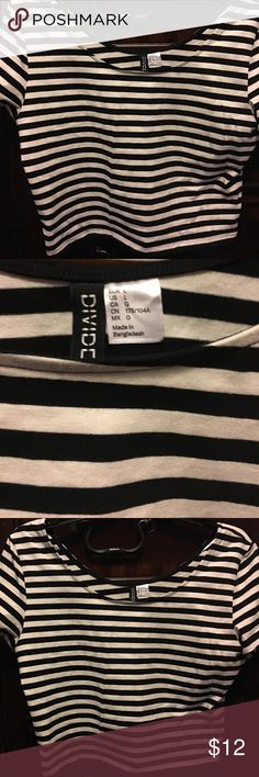 Black and white striped crop top Black and white horizontal stripes. Crop top stretchy material H&M Tops Crop Tops