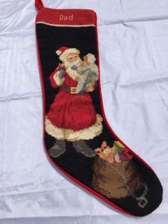 Tapestry-Christmas-Stocking-Needlepoint-Santa-Claus-for-Dad-21-Inch-Completed
