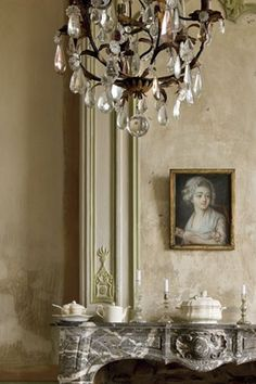 An antique dealer Aurélien and his wife Pascale discovered a small chateau built around 1700 - Century Plaster Walls Painting Plaster Walls, Venetian Plaster Walls, French Decor, French Country Decorating, French Furniture, Shabby Chic Furniture, Tv Stand Designs, Sweet Home, French Country House
