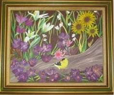 Canvas Art by Jamie - Gold Finch amid crocus