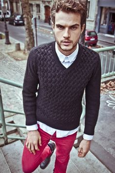 If I'm in mood: colored, tight pants. A sweater is always a good choice.