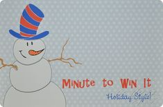 Minute to Win It Holiday Party - we did it with 1st graders, but fun for adults too!