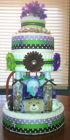 Custom 4-Tier Cake with Bottles as columns