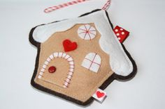 Gingerbread House FELT Handmade Christmas Ornament by RainbowFelt, $9.50