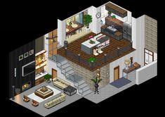 Habbo Pixel, Pixel Life, Pixel Art, Casa Retro, White Room Decor, Crazy Wallpaper, Isometric Art, Fantasy House, Cute House