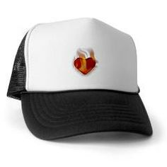 $13.19 - Single Heart 3D flame Trucker Hat - by RGebbiePhoto @ cafepress - A 3D red heart with flames.