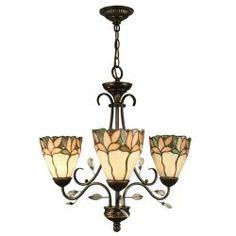 Springdale Lighting Tiffany Crystal Leaf Collection 3-Light Hanging Antique Bronze Chandelier