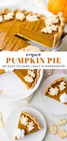 The best vegan pumpkin pie recipe ever! The flavorful pumpkin filling requires only 9 ingredients, and is made in a blender! The best vegan pumpkin pie recipe ever! The flavorful pumpkin filling requires only 9 ingredients, and is made in a blender! Dairy Free Pumpkin Pie, Best Pumpkin Pie Recipe, Easy Pumpkin Pie, Vegan Pumpkin Pie, Pumpkin Pie Bars, Homemade Pumpkin Pie, Pumpkin Recipes, Pumpkin Pie Recipe With Coconut Milk, Healthy Pumpkin