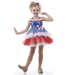 6ed0a57d2ed9 Details about All American Girl Dance Costume Red,White,Blue Ballet Tap Dress  Child Large & XL