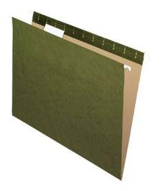 Pendaflex Recycled Standard Green 1/5-Cut Tab Hanging File Folders, 25 per box