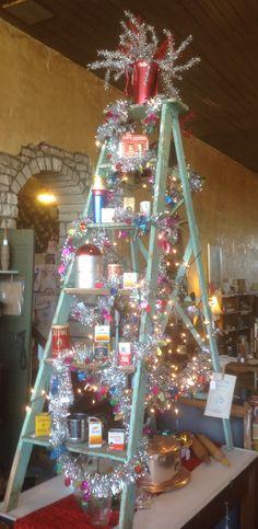 My funky Christmas Tree ladder at the Treasure Chest Frankort Kansas!
