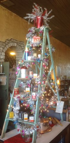 My funky Christmas Tree ladder at the Treasure Chest Frankort Kansas!