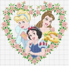 Disney Princess (Cinderella, Belle and Snow White) heart pattern