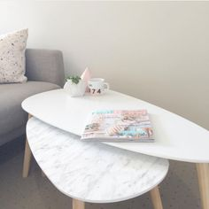 Marble look to nesting coffee tables. Kmart Hack | Our Urban Box