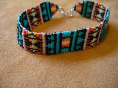 loom/square stitch beaded Native American inspired Pendelton inspired bracelet