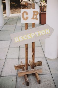 Wooden reception sign.