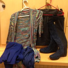 2016-01-28.  Not a great picture... Multi-colored striped knit vest (love this vest!). Denim a-line skirt. Blue turtleneck. Blue tights. Blue suede boots.