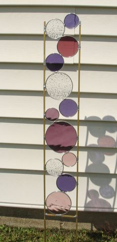 Stained glass garden art stake purple grape mauve outdoor yard decoration on Etsy, $40.00