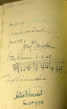 Pianist Leonard Shure's (very faint) signature from 1947 can be seen at the top of this page from the Orchestra's Guest Artist Signature Book. Shure performed Beethoven's Third Piano Concerto with George Szell conducting.