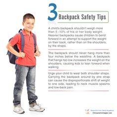 3 Backpack Safety Tips -- For 364 more educational chiropractic images, visit http://dcincome.com/go/chiropractic-graphics/ #chiropractic