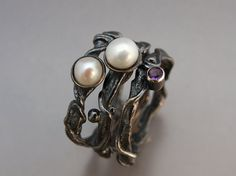 Ember and Frost Twig Stacking Ring Set in Sterling Silver, Pearls and Amethyst