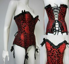 Red Brocade Corset #BLB1077A.  Click the image website for descriptions, prices and availability.  All costumes are for sale or rent unless otherwise noted.  We ship worldwide, Monday through Saturday.