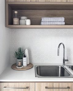 Who knew doing laundry could be so beautiful. We are crushing on this laundry by… Who knew doing laundry could be so beautiful. We are crushing on this laundry by featuring our laundry stainless sink and… Laundry Room Inspiration, Decor, Laundry Mud Room, House Interior, Home, Interior, Laundry Tubs, Laundry Decor, Home Decor