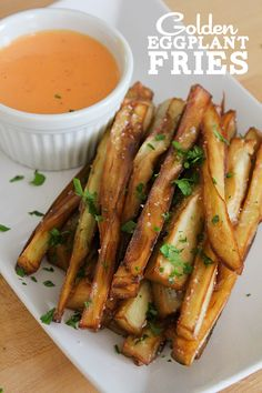 #SexyShredRecipes Golden Eggplant Fries Swap fresh garlic for garlic powder, and bake rather than fry. Thanks, @Yang Kim Tang Goddess!