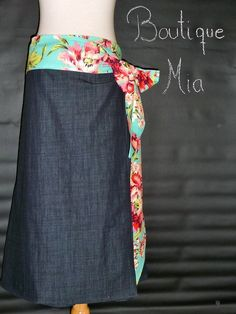 Wrap Around SKIRT  Amy Butler  Denim  Made in by BoutiqueMiaByCXV, $58.00