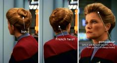 Only Janeway can pull off 3 different hairstyles all at once.