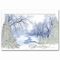 Woodland Stream Business Christmas Card | Winter Holiday Cards | Deluxe