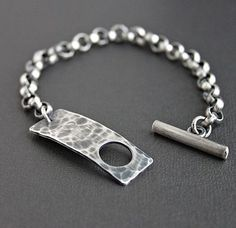 Mens Sterling Silver Chain Bracelet Hammered by LynnToddDesigns visit us on canawan.com