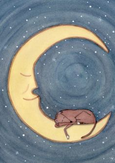 Greyhound sleeping on the moon / Lynch signed by watercolorqueen, $13.24