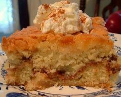 Apple Harvest Cake... this is chock full of apples, the cinnamon - sugar ribbon that flows through the center of the cake gives this just the right amount of sweetness, not overly sweet but just right.