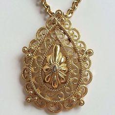 Vintage CROWN TRIFARI Etruscan Pendant Filigree Gold Plated Necklace