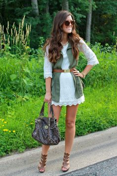 White crochet lace dress with army green vest.