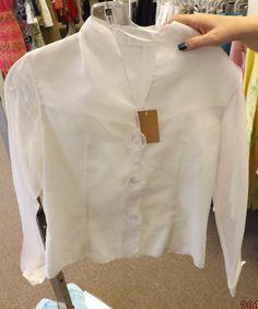 White Flower Button Blouse