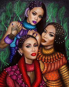 Black Love Art, Black Girl Art, Art Girl, African American Artwork, African Art Paintings, Black Art Pictures, African Girl, African Beauty, Wolf
