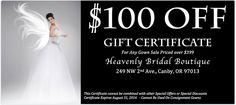 Heavenly Bridal Boutique Gift Certificate - $100 ADDITIONAL Savings off our already HEAVENLY prices! https://t.co/oZI0OJWloL