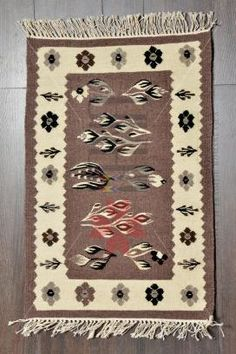 Covor-romanesc-Lucrat-manual-2-fete-lana-traditional-87x55-Motivul-Tomnatic