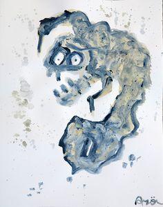"""O votas, o votas…Alto: 30 cm aprox. Ancho: 40 cm aprox. Historia del cuadro: Un """"burro-hombre"""" lleva a la urna la papeleta para votar.  Muestra la visión del norte hacia el sur de Europa. Un visión diferente de las elecciones. Técnica: Tinta china sobre papel"""