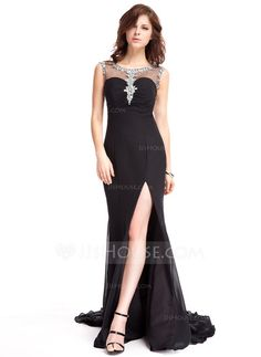 Evening Dresses - $184.49 - Sheath Scoop Neck Watteau Train Chiffon Tulle Evening Dress With Beading (017022823) http://jjshouse.com/Sheath-Scoop-Neck-Watteau-Train-Chiffon-Tulle-Evening-Dress-With-Beading-017022823-g22823