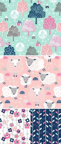 TREES SHEEP FLOWERS PATTERN