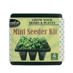 "72 4 Pack miniature seeder kit by FindingKing. $132.99. Grow fresh herbs and plants from seeds with this miniature seeder kit. A set of 4 black plastic containers that each have 9 chambers with bottom drainage for soil and seeds. Comes sleeved with Upc. Measurements: 5 3/8"" x 5 3/8"" x 2 1/8""."