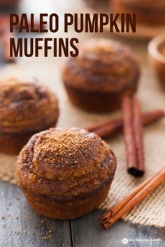 Three different Paleo flours are used to give this Paleo pumpkin muffins recipe a texture more consistent with a traditional muffin.