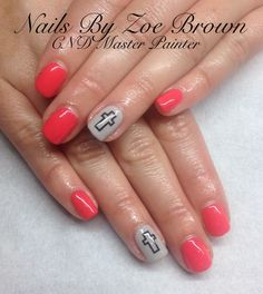 Coral CND Shellac with simple nail art